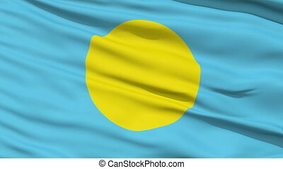 Waving national flag of Palau - Closeup cropped view of a...