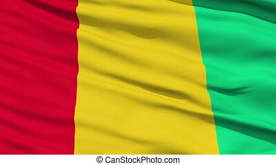 Waving national flag of Guinea - Closeup cropped view of a...