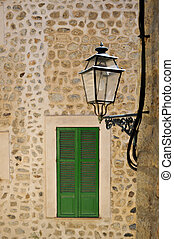 Narrow streets in Palma de Mallorca with typical...