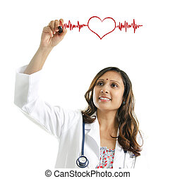 Doctor drawing a heartbeat - Asian Indian female doctor...