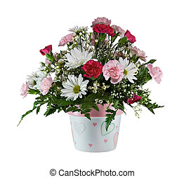 Flower Bouquet - Carnation and daisy flowers isolated on a...