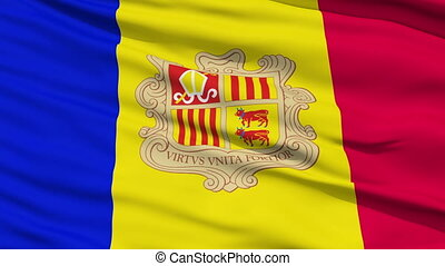 Waving national flag of Andorra - Closeup cropped view of a...