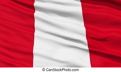 Waving national flag of Peru - Closeup cropped view of a...