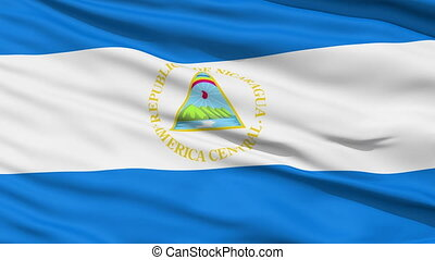 Waving national flag of Nicaragua - Closeup cropped view of...