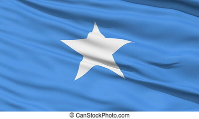 Waving national flag of Somalia - Closeup cropped view of a...