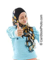 mulher, polegar, muçulmano, cima