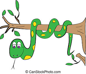 color page snake tree vector for book