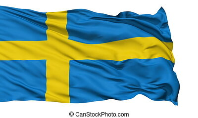 Waving national flag of Sweden