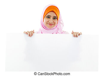White card board - Young Muslim woman holding a white board