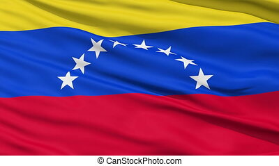 Waving national flag of Venezuela - Closeup cropped view of...