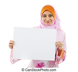 Blank card board ready for text - Beautiful Young Muslim...