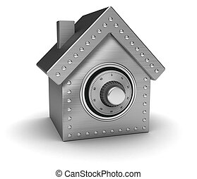 House safe - Silver safe in form houses isolated on white...
