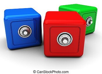 Three safes - Group of colorful modern safes isolated on...