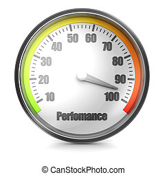 Perfomance - Dial power with arrow isolated on a white...