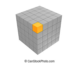 Cube - Grey modern cube with yellow brick on the corner over...