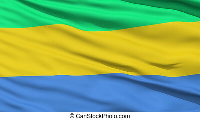 Waving national flag of Gabon - Closeup cropped view of a...