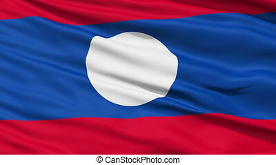 Waving national flag of Laos - Closeup cropped view of a...