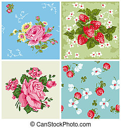 Set of Seamless Vintage Floral backgrounds - for scrapbook and design - in vector