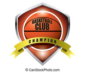 Basketball badge isolated on white background
