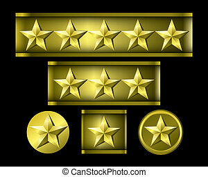 Gold star isolated on black background