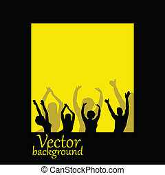 vector people silhouettes on yellow background