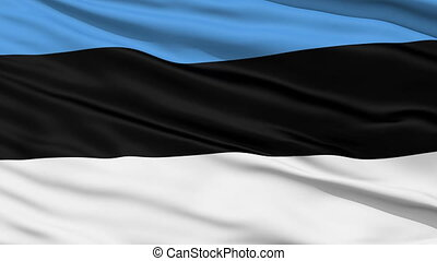 Waving national flag of Estonia - Closeup cropped view of a...