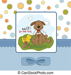 baby shower card with dog and duck