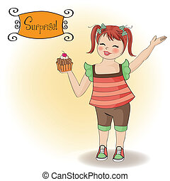 birthday greeting card with girl and big cupcake