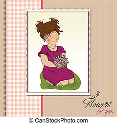 young girl with a bouquet of flower