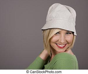 Blonde in White Hat Hand Behind Head