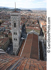Florence campanile - wide angle view of Florence campanile,...