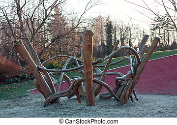 Playground from old dry logs - Playground ceated from old...