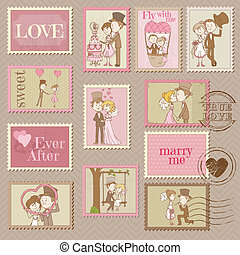 Wedding Postage Stamps - for design and scrapbook - in...