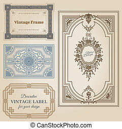 Vintage frames and design elements - with place for your text - in vector