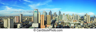 Makati city - Aerial view on Makati city - modern financial...