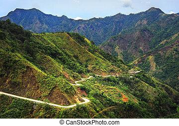 Mountains road - Road in Cordillera Mountains, Luzon,...