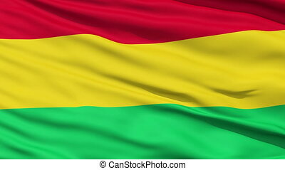Waving national flag of Bolivia - Closeup cropped view of a...