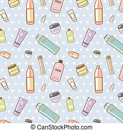 cosmetics pattern - seamless vector pattern of various...