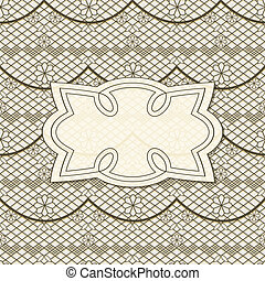 vector background with seamless lacy  pattern and frame for your text, eps 10