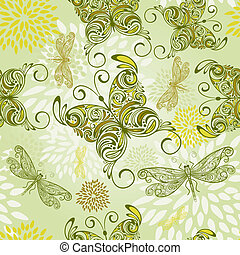 vector seamless pattern with butterflies, dragonflies, and...