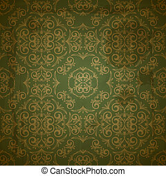 vector seamless floral golden pattern on green grungy background with crumpled paper texture, EPS 10