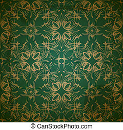 vector seamless floral golden pattern on grungy background with crumpled paper texture, EPS 10