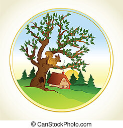 Village summer landscape. Vector background