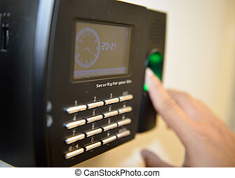 Security and time checking machine for worker - The worker...
