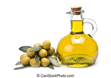 Premium olive oil and olives. - A jar with olive oil and...