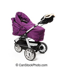 baby stroller isolated on white - perambulator isolated on...
