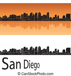 San Diego skyline in orange background in editable vector...