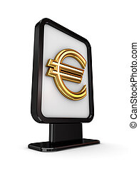 Euro sign in a lightbox.Isolated on white background.3d...