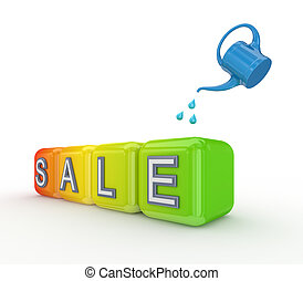 Blue bailer and colorful cubes with a word SALE.3d rendered.