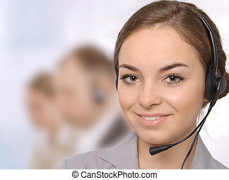 Customer service representative - Closeup of a female...
